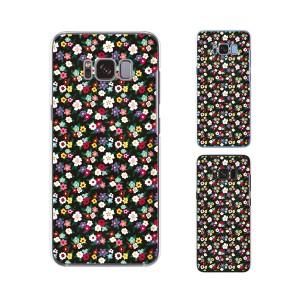 Galaxy S8 (docomo SC-02J / au SCV36) 兼用 スマホ ケース ハード カバー 花柄23 小花 黒