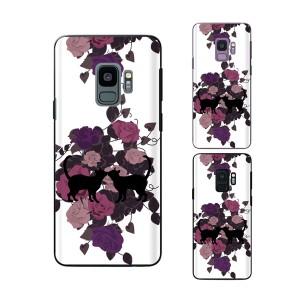 Galaxy S9 (docomo SC-02K / au SCV38) スマホ ケース カバー 猫のカップル2 薔薇 白