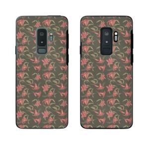 Galaxy S9+ (docomo SC-03K / au SCV39) スマホ ケース カバー 花柄32 ユリ 灰色