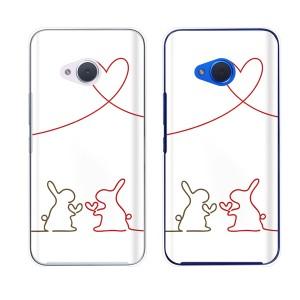 Y!mobile Android One X2 スマホ ケース ハード カバー アンドロイドワン うさぎ 糸2 ハート 白