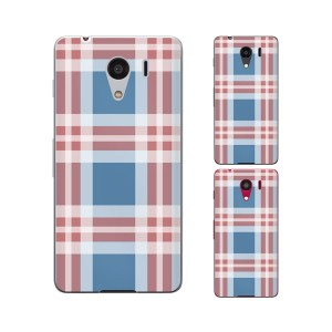 SoftBank DIGNO G 601KC / Y!mobile Android One S2 兼用 スマホ ケース カバー チェック 青/赤/白