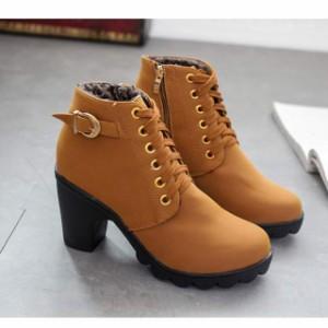 【アウトレット】 ブーツ  ショートブーツ  レースアップブーツ  裏起毛  レディース  チャンキーヒール  ヒール  靴  シューズ