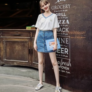 Lib★Girl ブルーライントリミングVネックTシャツトップス(WG331-G3)