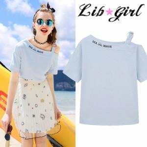 Lib★Girl ワンショルダーTシャツトップス(Y6128G-G3)
