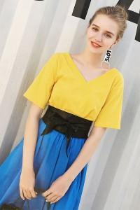 Lib★Girl シンプルVネックTシャツトップス(Y6159R-G3)