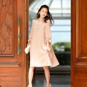 大きいサイズ  バックシャン プリーツ ドレス ワンピース 結婚式 パーティー ドレス ファッション 韓国 ファッション プチプラ