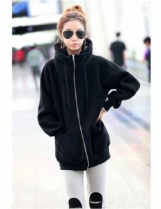 パーカーワンピ パーカー レディース フード付き 裏起毛 体型カバー 大きいサイズ ジップパーカー 韓国 ファッション プチプラ