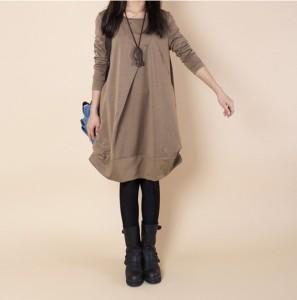 大きいサイズ ゆったり 長袖 ひざ丈 ルーズワンピース 裏起毛 あったか 秋冬 暖かい 防寒 可愛い 韓国 ファッション プチプラ