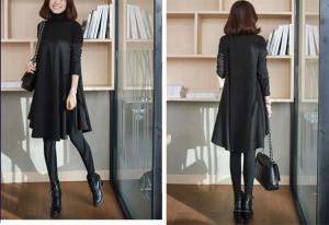 シャツワンピース Aライン フレア ワンピ ワンピース 体型カバー ハイネック 大きいサイズ 無地 韓国 ファッション プチプラ