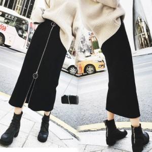 大きいサイズ スカート ひざ丈 膝丈 ミモレ丈 レディース ボトムス ファスナー ジップ スリット 韓国 ファッション プチプラ