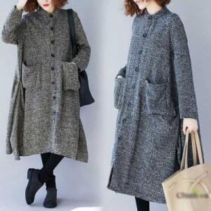 ツイード コート 大きいサイズ アウター Aラインコート Aライン ワンピースコート スタンドカラー 韓国 ファッション プチプラ