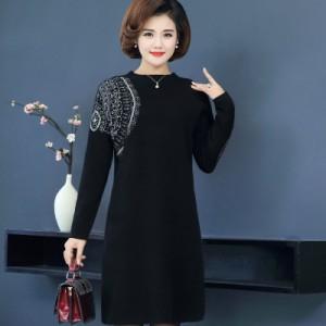 大きいサイズ セーター ニットワンピース 40歳 50歳 サークル刺繍 ワンピース Aライン 上品 韓国 ファッション プチプラ