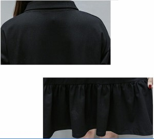 f0923511518f6 大きいサイズレディースAライン ワッペン バルーン袖 半袖 ポロシャツワンピース ワンピース 大人 韓国 ファッション プチプラ