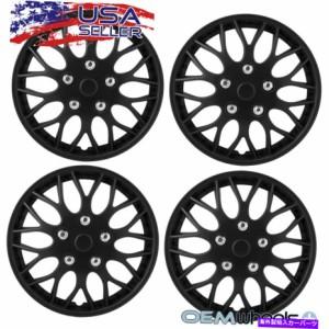 "Wheel Covers Set of 4 新ブラック14"" ホイールキャップは、シボレーのトラックバンクロスホイールがセットホイールキャップカバ"