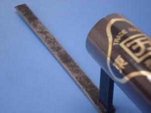 カクマン(本職用) 元首平目地鏝【本焼】120mm(黒柄) 巾3mm【受注生産品】
