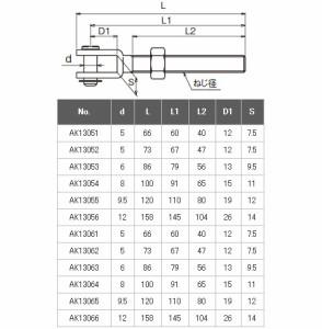 浅野金属工業 フォークボルト(右ねじ) M12 AK13055