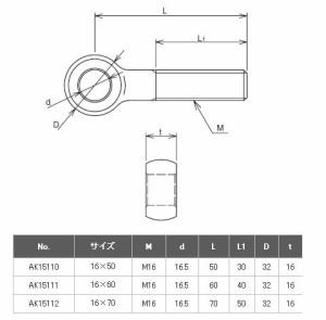 浅野金属工業 ロットボルト 16×60 AK15111