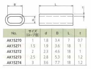 浅野金属工業 クランプ管 アルミ ロープ径3 AK15274