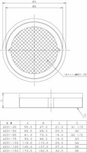 カクダイ 内ネジ防虫目皿 4231-40