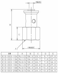 カクダイ JKロック内ネジアダプター(ワンタッチ・呼称10) 610-003-10A