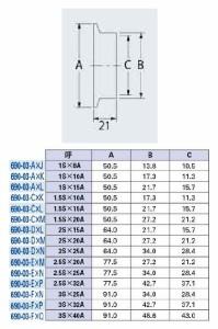 カクダイ 異径へルール(呼称2.5S×25A) 690-03-E×N