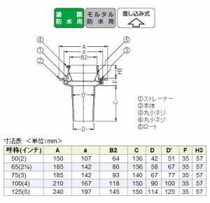 カネソウ 鋳鉄製ルーフドレイン たて引き用 一般型 バルコニー中継用 水はね防止型(呼称100) ※メーカー直送代引不可 EMJ-3-100