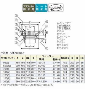 カネソウ 鋳鉄製ルーフドレイン たて引き用 打込型 外断熱用 バルコニー中継用(呼称50) ※メーカー直送代引不可 ESBW-2-50