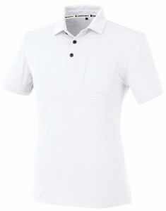 コーコス ストレッチボタンダウン 半袖ポロシャツ ホワイト SS A-247