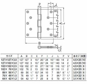 シロクマ ステン キャノン丁番 76×49 仙徳 1箱20枚価格 ※メーカー取寄品 BS-100