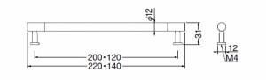 シロクマ エメラルドハンドル 120 クリア消・クローム 1本価格 ※メーカー取寄品 HC-19