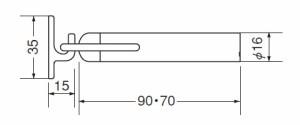 シロクマ アオリ止メ付キャノン戸当り 90mm 金 1個価格 ※メーカー取寄品 RB-31