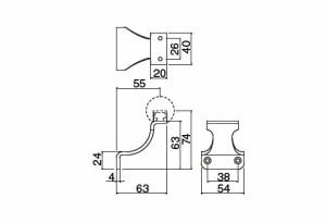 シロクマ スリムスマートブラケット横L受 SL アンバー 1個価格 ※メーカー取寄品 SBR-8109