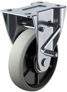 ユーエイキャスター PMR-LB型 固定車・ストッパー付 右 200mm ウレタン ※受注生産品 PMR-200GUBLBR
