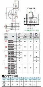 ユーエイキャスター SA-S型 自在車 ストッパー付 アングル式 100mm ゴム(鋼板ホイル) 受注生産品 SA-100WPS