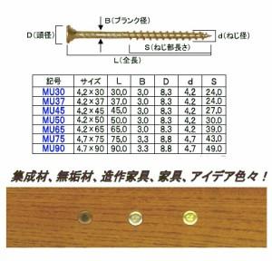 ダンドリビス 三角化粧ビスMU37 ブロンズメッキ(12号プラ箱・400本入) ※取寄品