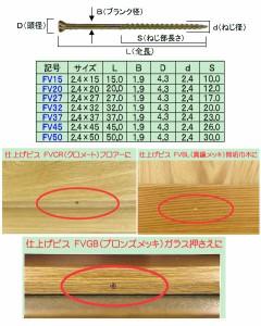 ダンドリビス 三角仕上げビスFV50 ブロンズメッキ(Cbox・430本入) ※取寄品