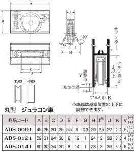 ヨコヅナ メタル入り取替戸車 ジュラコン車(14型・丸型)(1箱・10個) ADS-0141