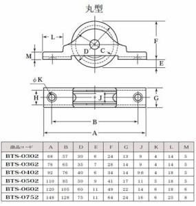 ヨコヅナ ベアリング入真鍮戸車 ステンレス枠(30mm・平型)(1個価格) BTS-0302