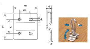 水本機械 ステンレス金具 ハンガープレート 1個価格 HP-9-43