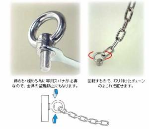 水本機械 ステンレス金具 回転アイボルト(専用スパナ付)(ブネジ/インチネジ)1個価格 IBS-8W