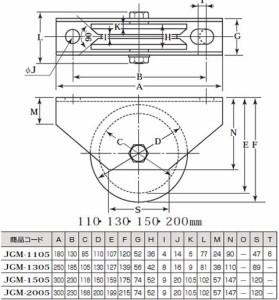 ヨコヅナ S45C重量戸車(110mm・V型)(1個価格) JGM-1105