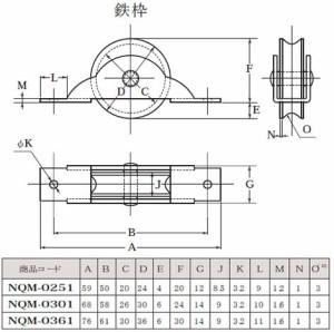 ヨコヅナ 黒ナイロン戸車 鉄枠(30mm・丸型)(1個価格) NQM-0301