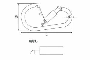 水本機械 ステンレス金具 カラビナジャンボ(環なし)5個価格 XJB-16A