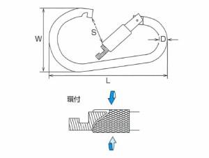 水本機械 ステンレス金具 カラビナジャンボ(環付)5個価格 XJB-16B