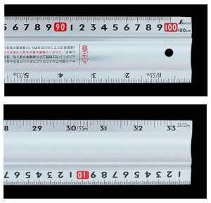 シンワ アルミカッター定規ステン鋼付カット師 1m併用目盛 W左基点 65090