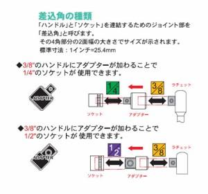 SEK(スエカゲ) Pro-Autoアダプターソケット差込角3/8inch(-)×1/2inch(+) 3231004