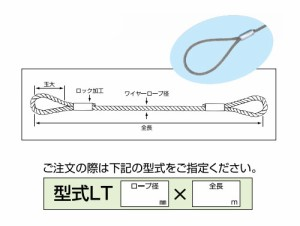 H.H.H.(スリーエッチ) ロック止玉掛ワイヤー(メッキ加工)LT12mm×6m ※取寄せ品
