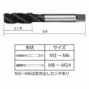 ISF(イシハシ精工) スパイラルタップ 止り穴(袋ネジ)用 ステンレス用 M3×0.5mmピッチ SUS-ST