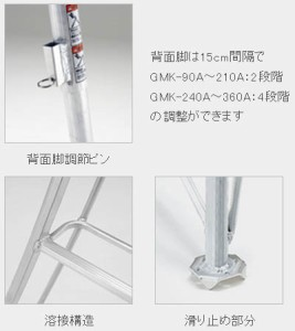 PICA 三脚脚立(垂直高さ3.19×有効高さ2.32m)【メーカー直送品・代引不可】 GMF-330A