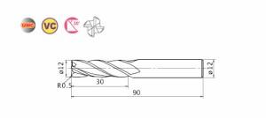 三菱マテリアル 4枚刃ミラクルラジアスエンドミル(J)0.5R VC4JRBD1200R0050